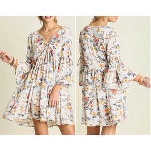 Umgee Floral Peasant Dress Tunic With Bell Sleeves